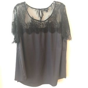 NWT Lace Top in Gray/Black